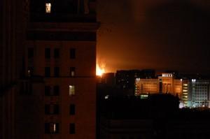 Фото пожара из здания МГУ